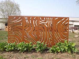 4st Gartendeko Blumen Trennwand Sichtschutz Metall Paravent Edelrost