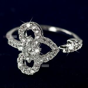 18K-White-Gold-Plated-women-039-s-wedding-dress-Ring-Simulated-Diamond