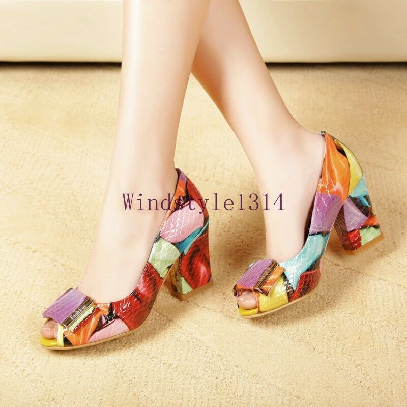 Donna Block High Heel Sandals Peep Toe Floral Slip On Pumps Casual Pelle Shoes