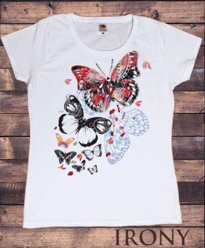 Womens White T-shirt Scattered Butterfly Design  Summer Novelty Print TS245