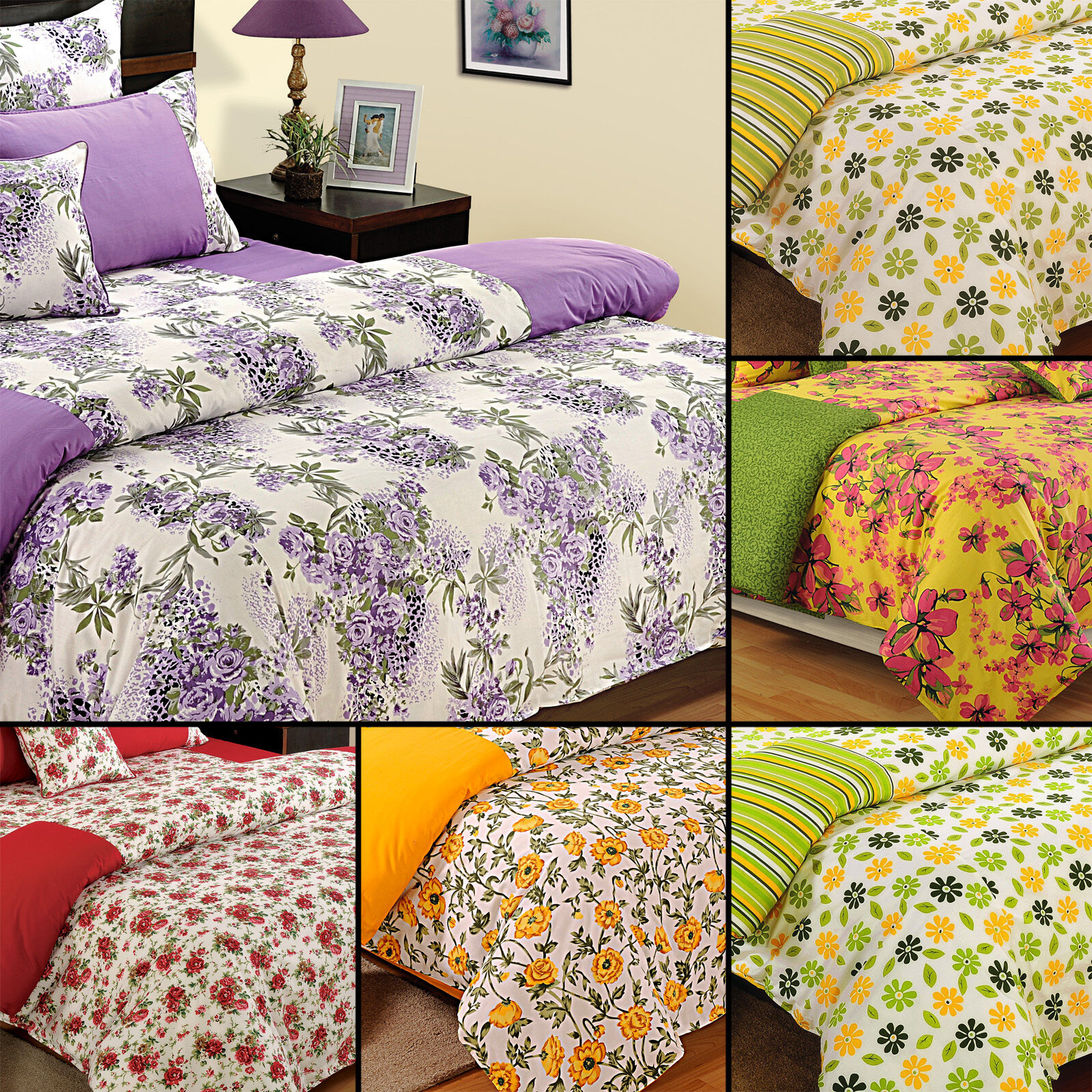 100% Cotton Elasticated Fitted Home Decorative Bed Sheet with Pillow Cover-113
