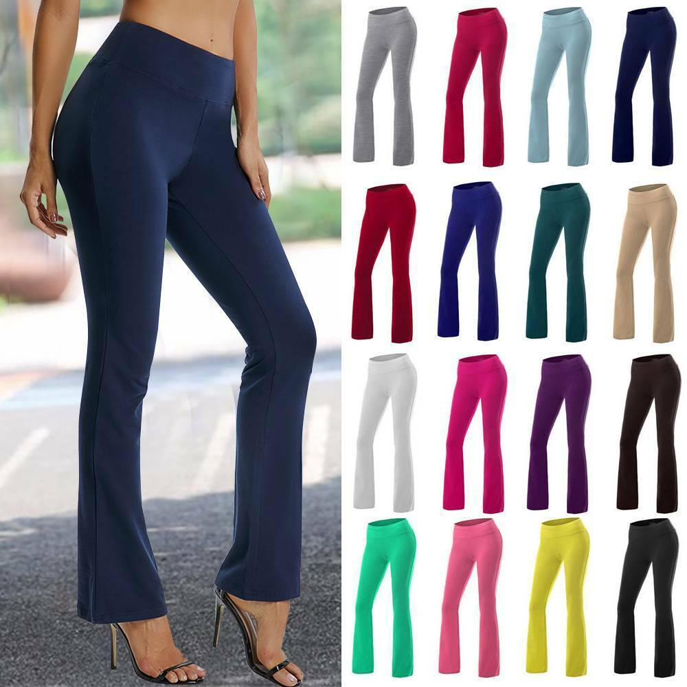 Womens Bootcut Yoga Pants Legs Bootleg Flare Trousers Workout Fitness Running M8