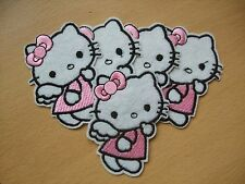 Pack of 5 Pink Hello Kitty Angel Embroidery Patches 74mm Applique Sew On Patch