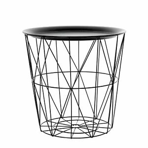 Round Black Geometric Wire Metal Tray Lamp Coffee End Side Table