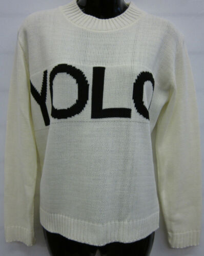 Donna la pace Yolo /& Baffi Stampa Maglione Cardigan Top UK 8-12