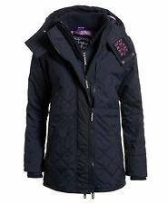 New Womens Superdry Technical Quilted Wind Parka French Navy