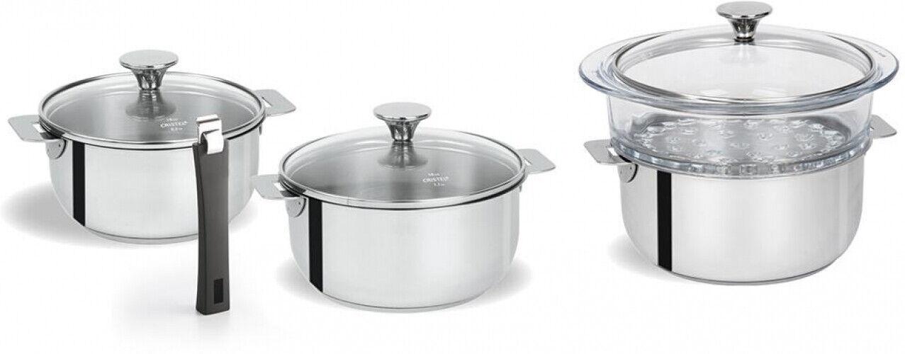 Sauce Pan Set 8 Pièces En Acier Inoxydable Au Lave-vaisselle avec poignée détachable