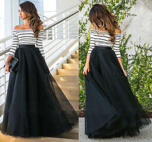 5 Layers Womens Tulle Skirt Long Princess Party Prom Ballgown Size S M L XL XXL