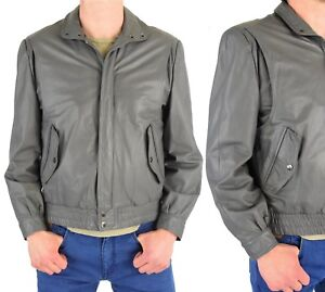 c104b6bba Details about 1980's Vintage Men's 40 or M Gray Leather Bomber Jacket  Berman's