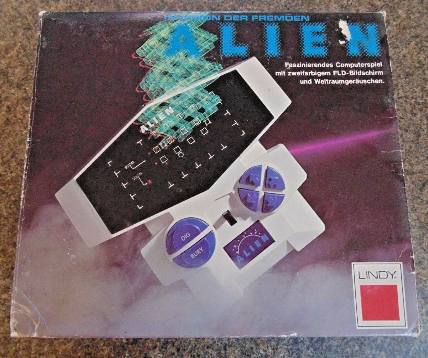 ALIEN LINDY LSI HANDHELD TABLETOP GAME 1981 SCARCE BOXED WORKING GERMAN VERSION