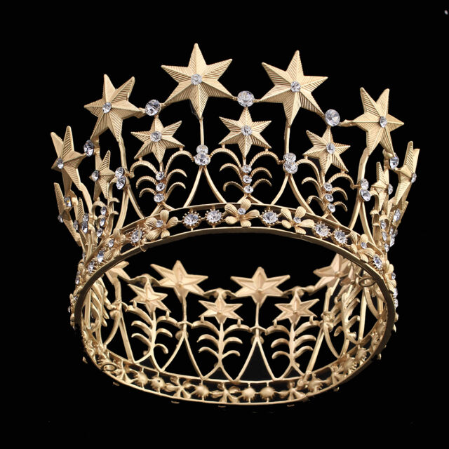Gold Plated Crystal Star Crown Tiaras with Circle Bridal Wedding Headpiece Jewel