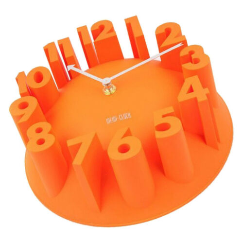 Macaron Wall Clock 9inch Silent Quartz Movement Easy Read Battery Orange