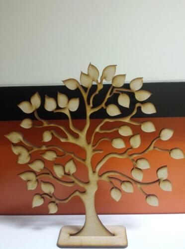2 X De Madera Mdf árbol familiar en Stand 25cm 4mm y 20 X 3cm Corazones