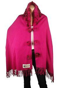 Fuchsia London di Wool Conmigo con Wrap collo pelliccia volpe Winter in H5dSSwcq1