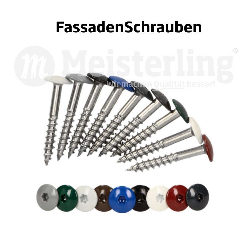 Meisterling® FassadenSchrauben 25 - 55 mm in V4a   V2a Edelstahl   Inox gehärtet       Rabatt