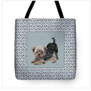 Yorkie-on-Pattern-Art-Tote-in-Several-Sizes-FREE-Personalization