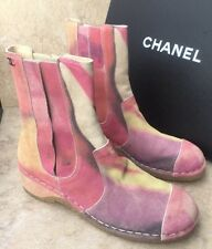 New Chanel Pink Water Color Printed Calfskin Short Boots EU 39. Org. $1275