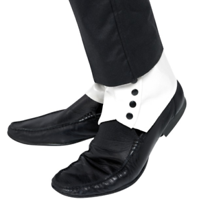 Spats Blanco Y Negro Gangster Shoe Cover spats 1920 Fancy Dress Accesorio