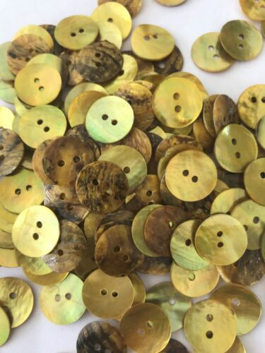 50 YELLOW 15mm mother of pearl shell buttons MOP