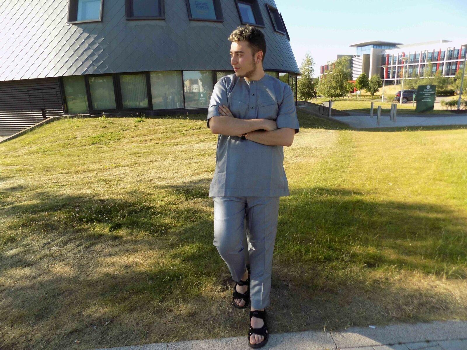 African Print Men Attire Light Grey Shirt   Ankara Men Shirt