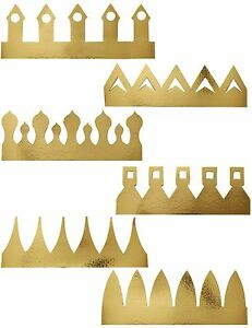 6-Golden-Gold-Party-Crown-Hat-King-Queen-Drama-Play-Art-Craft-Christmas-Birhtday