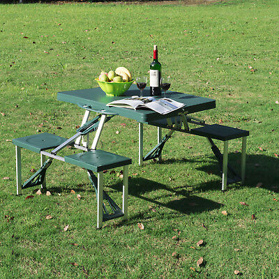 Outsunny Plastic Folding Table With 4 Seats Green For Sale Online Ebay