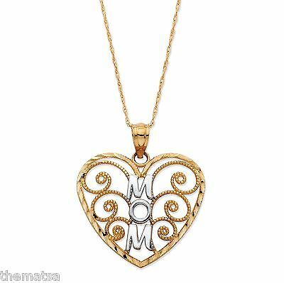 14k Yellow Gold Mom Charm Pendant Mom In Heart Filigree Cut-out
