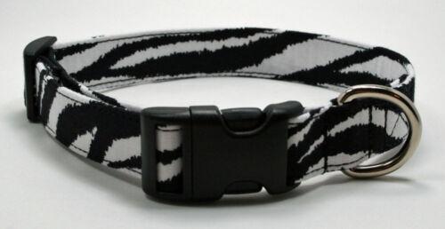 Zebra Stripe Animal Print Dog Collar Adjustable Handmade Custom Designer