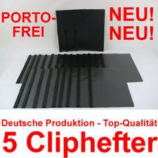 30 Bl 5x Klemmmappe A4 schwarz f Klemmhefter Klemm-Mappe Hefter m.Clip NEU/&OVP