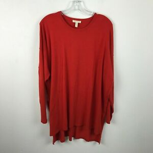 Eileen-Fisher-Sweater-Size-L-Red-Long-Sleeve-Solid-Tencel-Lyocell-Womens-Tunic