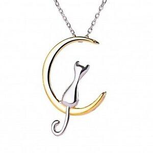 Moon-Cat-Anhaenger-bicolor-mit-Kette-Halskette-aus-925-Silber-Mond-Katze-Etui