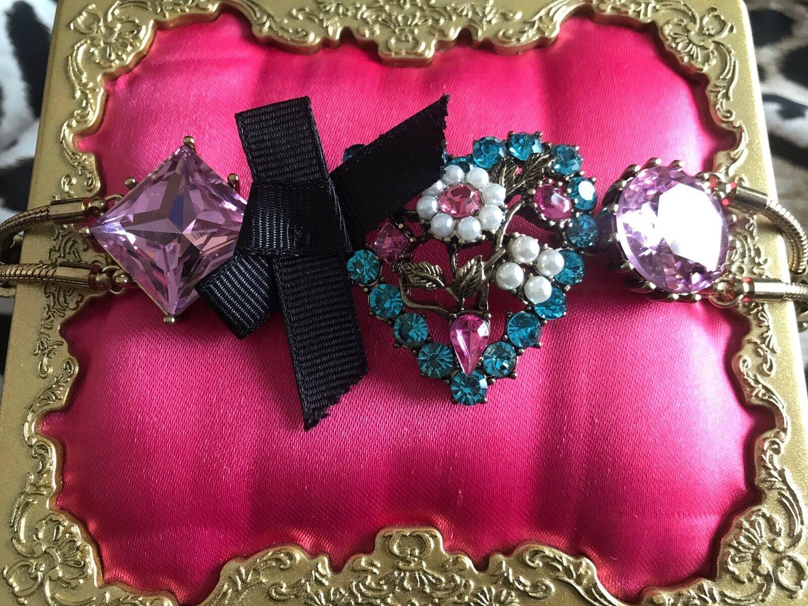 Betsey Johnson Hanging Hearts Boost Pearl Heart bluee Pink Flower Bow Bracelet