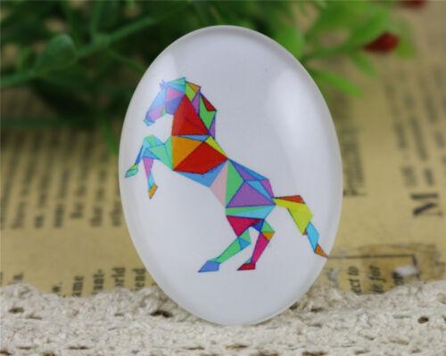 2pcs Multicolore cheval fait main verre Cabochons30x40mm