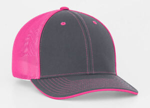 Image is loading Pacific-Headwear-404M-Graphite-Neon-Pink-Flexfit-Trucker- c6f384ce282