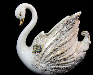 California-Originals-Swan-Planter-Manhattan-Beach-1950-039-s-Mid-Century-Art-White