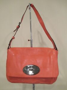 e40b3245d11 Image is loading MULBERRY-Burnt-Peach-Oversized-Bayswater-Leather-Clutch- Shoulder-
