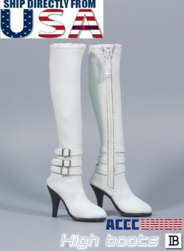 "1//6 Scale Leather Boots WHITE For 12/"" Hot Toys TBLeague PHICEN Female Figure USA"