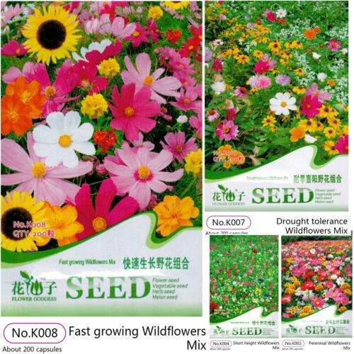 5 Packs Flower Mixed Seeds Beautiful Garden Yard Decor Plants Fast Growing