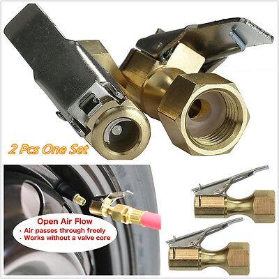 2x Heavy Duty Golden Brass Clip-on Female 1//4/'/' NPT Tyre Inflater Air Chuck Part