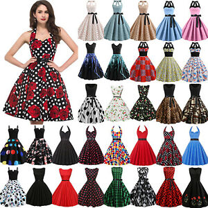 Women-Hepburn-50s-60s-Rockabilly-Dress-Pinup-Party-Cocktail-Vintage-Swing-Dress