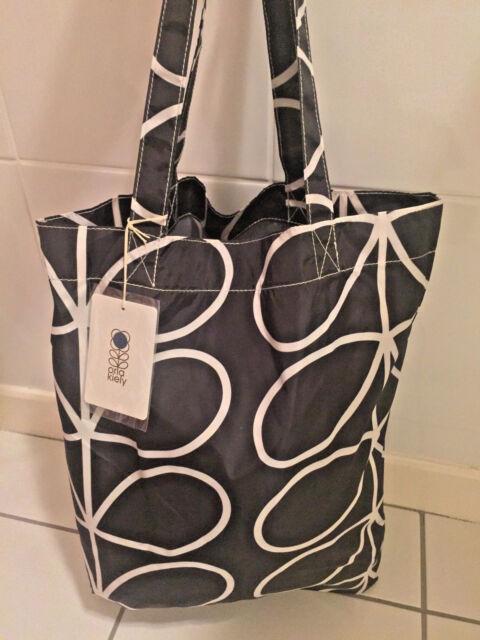 ba261c9e8a Orla Kiely Packaway Tote Bag Shopper BNWT Giant Linear Stem Design Black