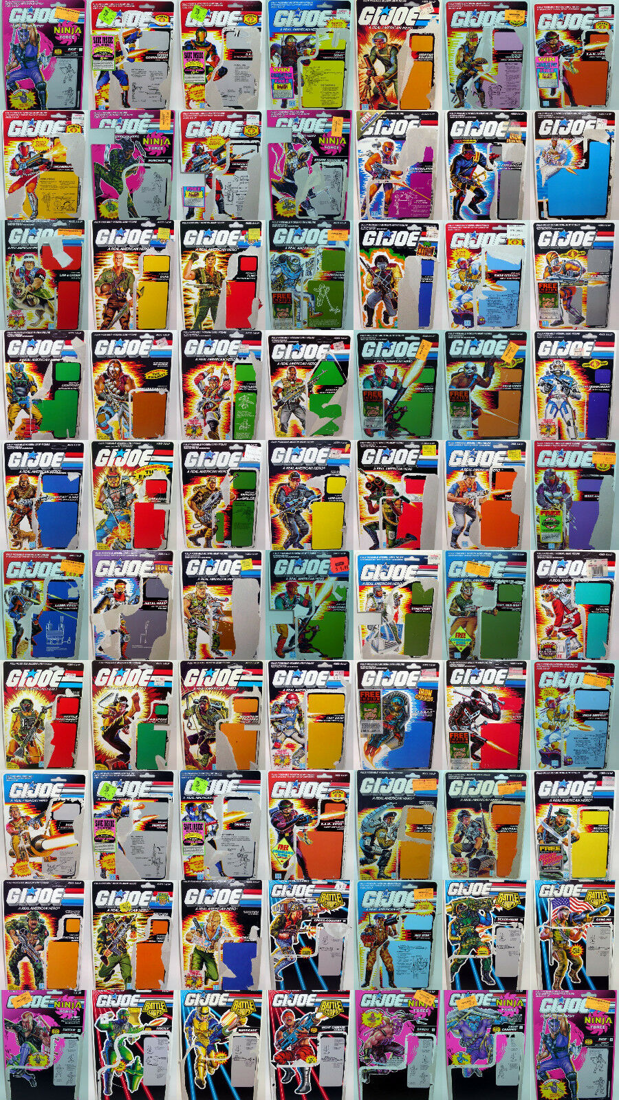 Vintage GI Joe ARAH Uncut File Cards - YOUR CHOICE - Hasbro 1982 - 1995 G.I. Joe