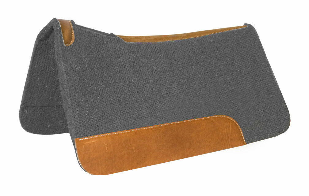 Grey felt contoured spine top grain wear leathers pad  saddle  32  x 32  by 1   factory direct and quick delivery