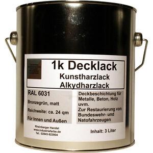 614782755d Das Bild wird geladen Kunstharz-Lack-RAL-6031-matt -Bronzegruen-Natolack-Tarnlack-