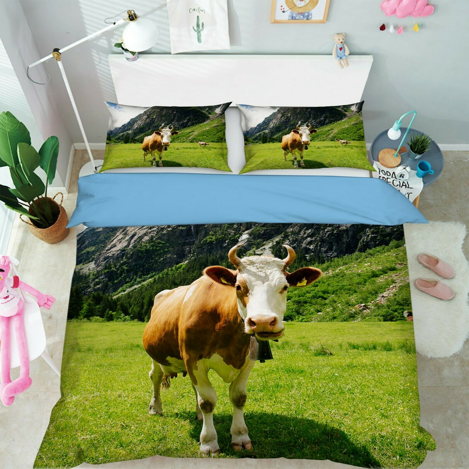 3D Cattle Meadow G04 Animal Bed Pillowcases Quilt Duvet Cover Set Queen King We