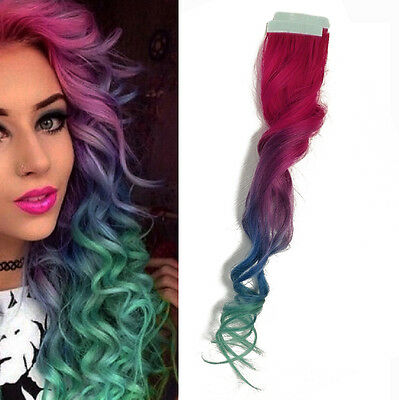 Tape in Skin Ombre Human Hair Extensions Pink Light Purple Blue Pastel Green