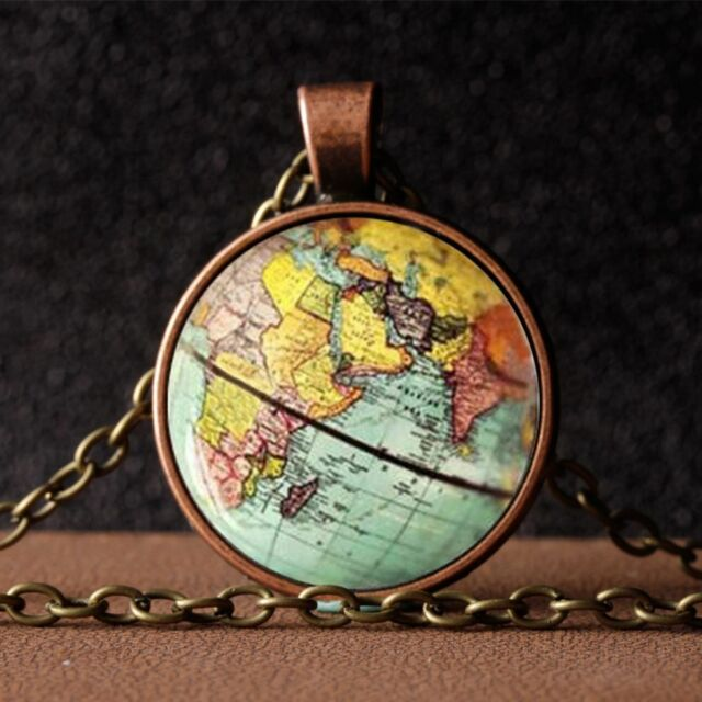 Punk Globe Earth World Map Pattern Time Gem Glass Pendant Necklace Sweater Chain