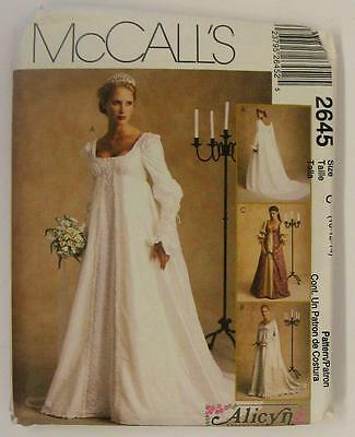Renaissance Wedding Dress.Mccalls 2645 Renaissance Wedding Dress Bridal Gown Sewing Pattern 10 12 14