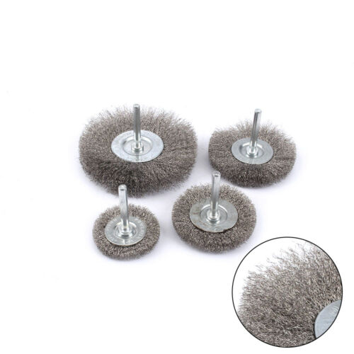 "4Pcs 2/""-4/"" Stainless Steel Polishing Steel Wire Brush For Cleaning Buffing Metal"