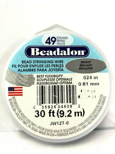 BEADALON 49 STRAND JEWELRY BEADING WIRE .024 BRIGHT 30 FT ROLL JW12T-0
